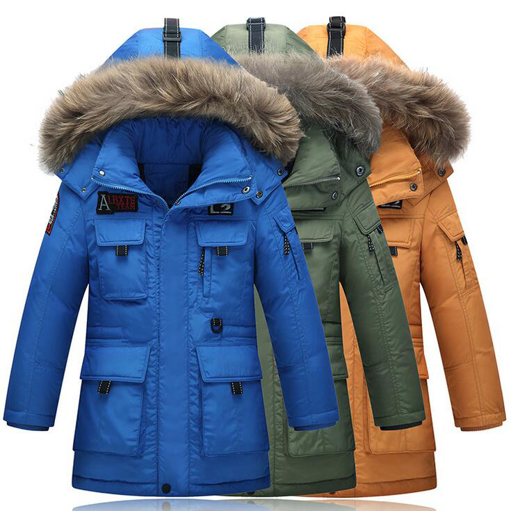 Mid Long Thicken Winter Parkas Coats For Boys Fake Fur Hooded Pockets Letter Down Jacket Keep Warm Windproof Boy's Jackets 2015 new hot winter thicken warm woman down jacket coat parkas outerwear hooded splice mid long plus size 3xxxl luxury cold