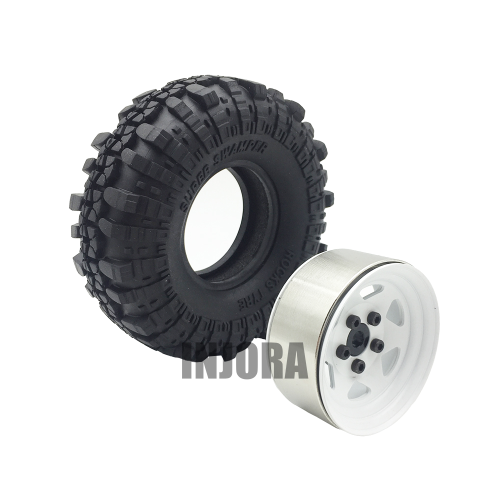 4PCS 1.9 Rubber Tyre / Wheel Tires & Metal Wheel Rim for RC Rock Crawler Axial SCX10 90046 90047 Tamiya CC01 RC4WD D90 4pcs rc crawler truck 1 9 inch rubber tires