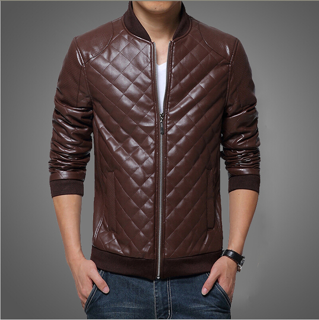 Fashion 2016 New Clothing Zipper Leather Jacket Men Leisure Slim Fit Collar Motorcycle PP Leather Jacket  bape Coat High Quality