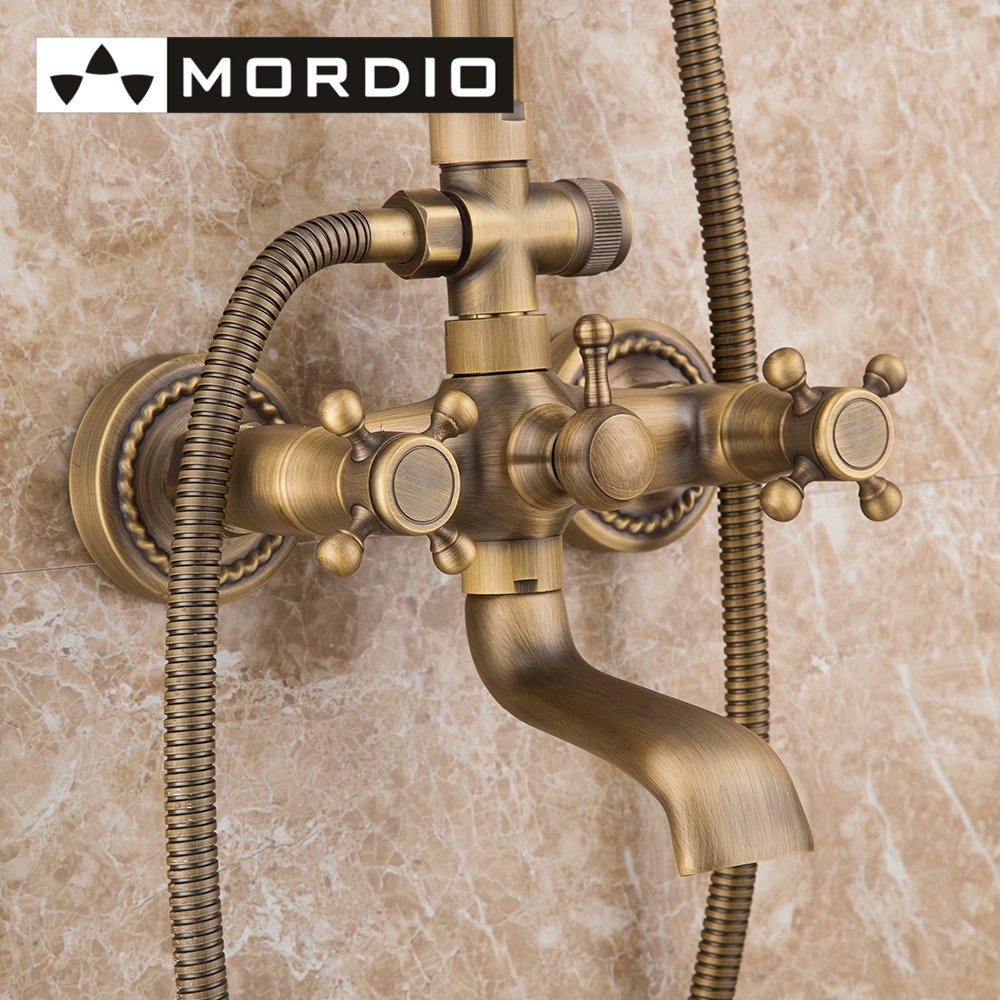 Antique Solid Brass Bathroom Fixtures With Shower Head Handheld Shower  Bronze Shower Holder And Arms Rainfall Shower Head Lavat In Shower Faucets  From Home ...