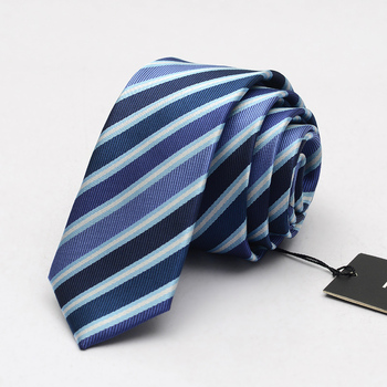 NEW Mens Fashion 5CM Slim Ties Blue Striped Business Profession Interview Office Work Bars Casual Necktie Gravata with Gift Box