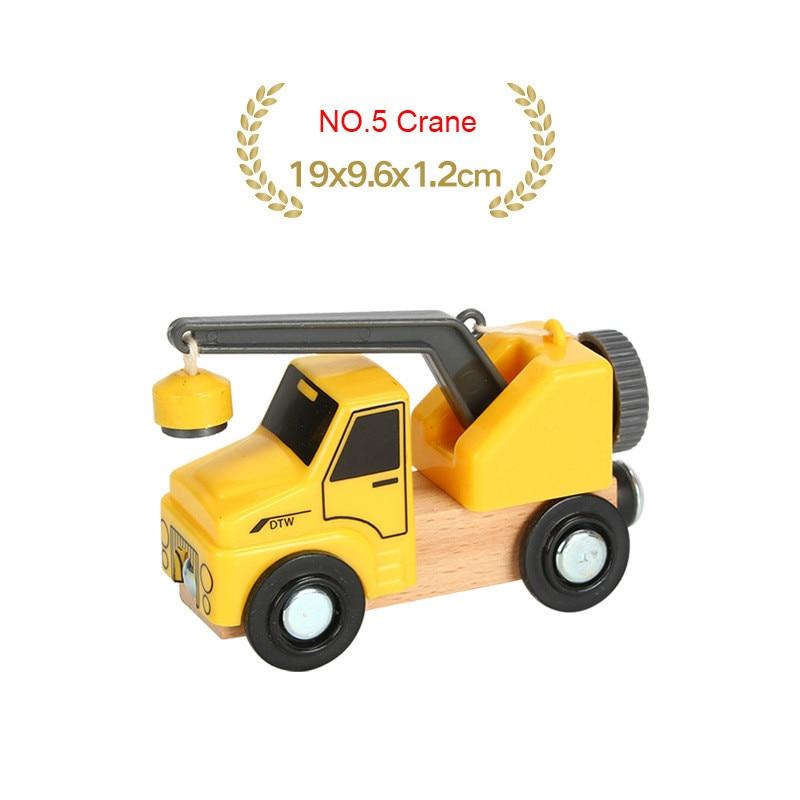 EDWONE деревянный магнитный Поезд Самолет деревянная железная дорога вертолет автомобиль грузовик аксессуары игрушка для детей подходит Дерево Biro треки подарки - Цвет: NO.5 Crane