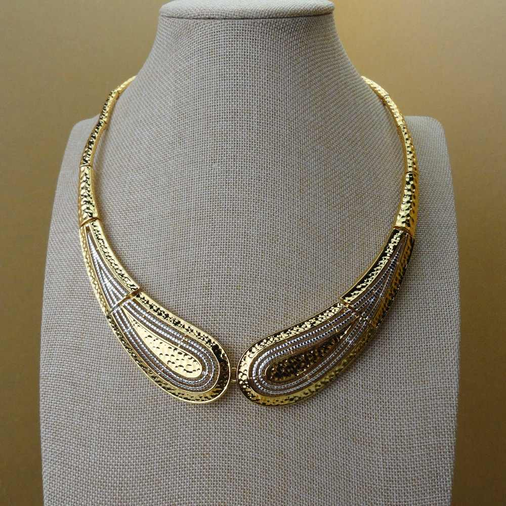 Yuminglai כלה מתנה ניגרי חתונה אפריקאית חרוזים תכשיטי סט מותג אישה אופנה דובאי זהב צבע תכשיטי סט FHK5341