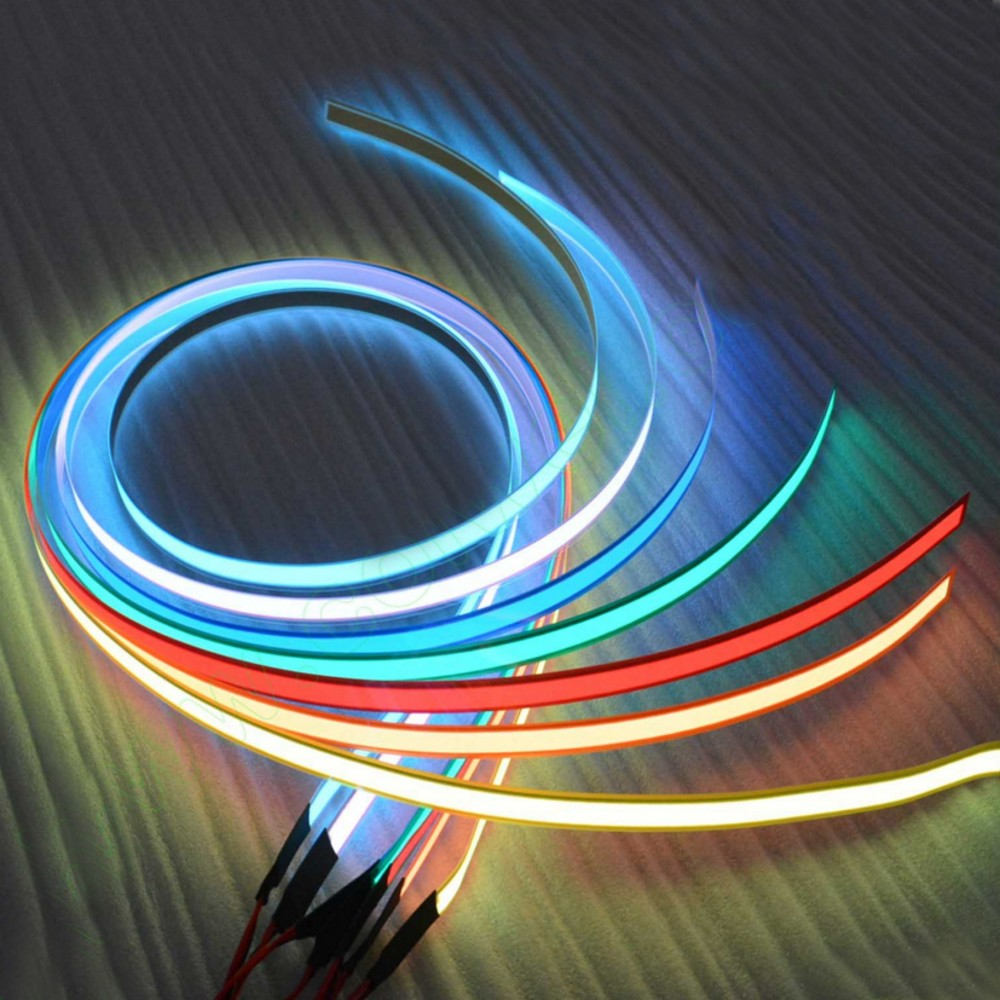 12V 1m Flexible Glow El Tape Led Light EL Wire Rope Cable Waterproof Led Strip Lights +12V Car Cigarette Lighter Inverter