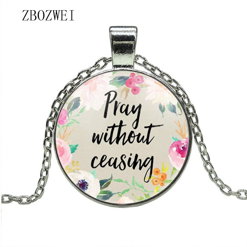 Hot models fashion prayer does not stop the Bible Christian  inspirational glass pendant necklace jewelry for men and womenChain  Necklaces