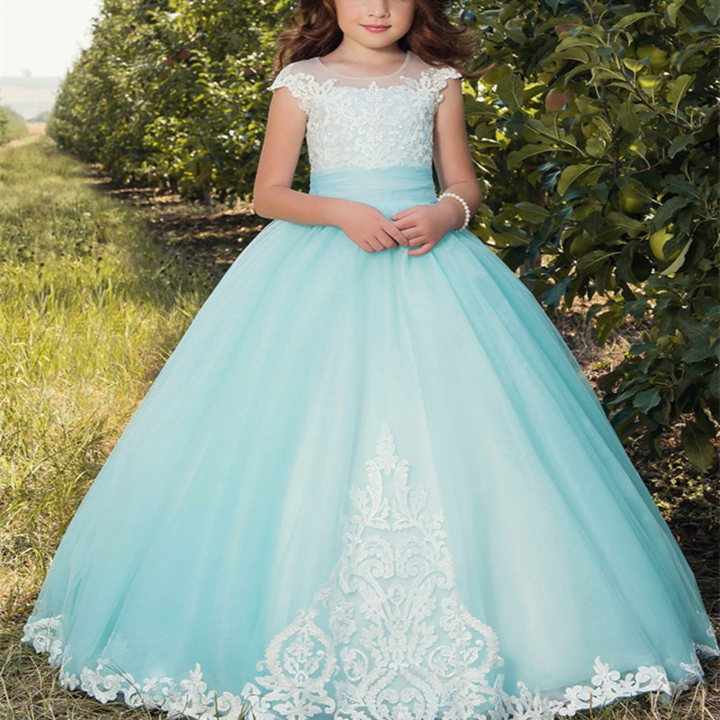 Blue Lace Applique Romantic Puffy   Flower     Girl     Dresses   for Weddings Tulle Gown   Girl   Partys Birthday Communion Pageant   Dresses