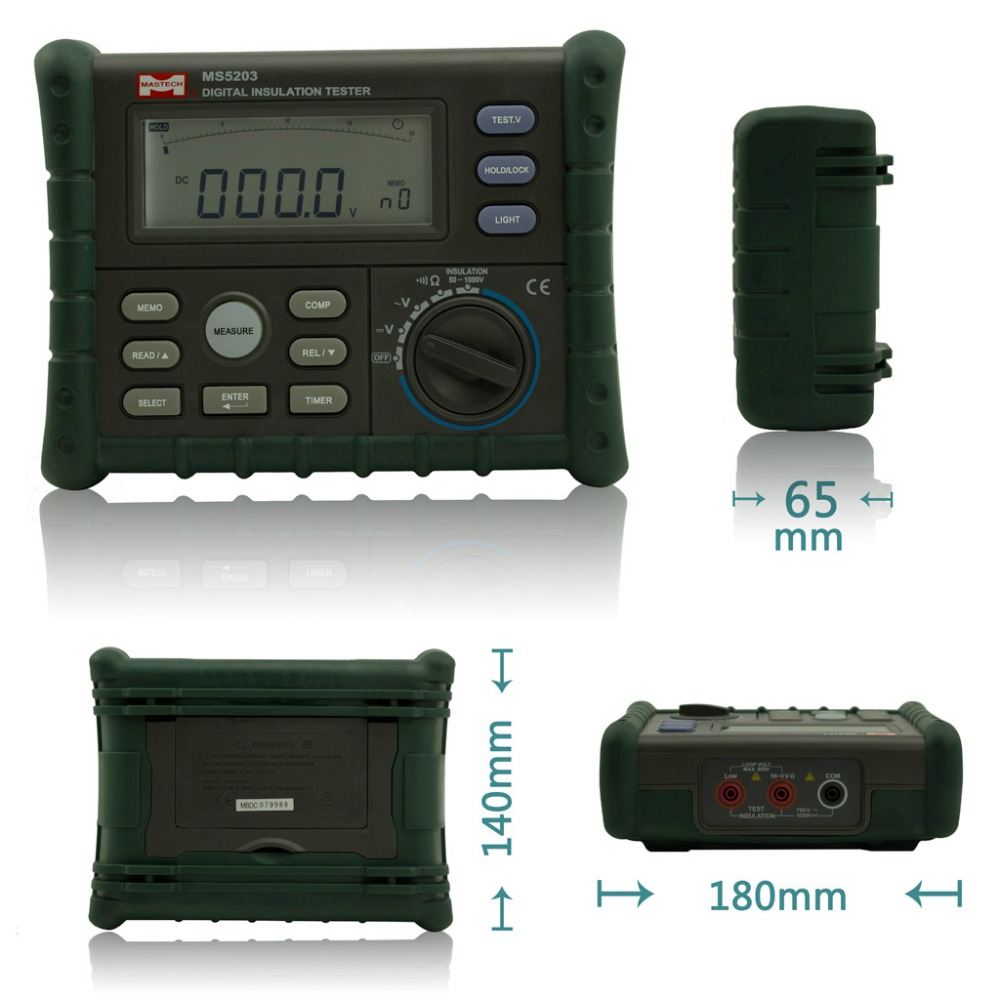 MASTECH MS5203 Digital Insulation Resistance Tester Multimeter Megger 0.01-10G Ohm meter 50V-1000V output  цены