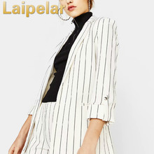 Lapel long sleeved loose striped slim suit jacket women clothes Laipelar Fashion Autumn Coat top Formal Party Clothes