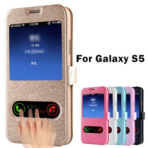 Luxury S5 Flip Silk Leather Back Cover Case For Samsung Galaxy S5 i9600 Phone Bags Cases For Galaxi S5 With Stand Design