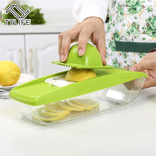 TTLIFE Adjustable Mandoline Vegetable Slicer 5 Interchangeable Blades Stainless Steel Fruit Cutter Grater Kitchen Salad Maker