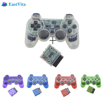For Sony PS2 Transparent Color Wireless bluetooth Gamepad Pro Controller 2.4G Vibration Controle Gamepad for Sony Playstation 2 Gamepads
