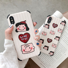 Charlie Lucy travel stripe phone cover for iphone xs x xr xsmax antiknock love heart glossy shield 6 6s 8 7 plus capa
