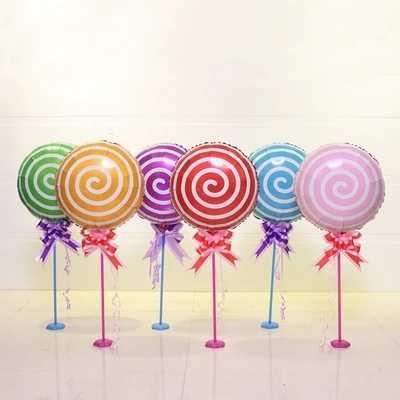 10 pçs/lote doces coloridos 18 polegada pirulito rodada bolas de alumínio foil balões da festa de casamento do aniversário do bebê decoração