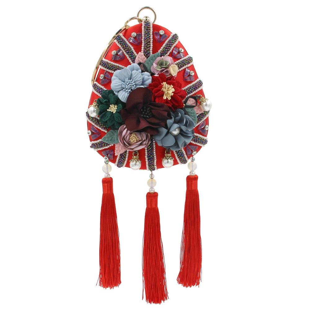 Women Flower Evening Clutch Bag Patty Wedding Crystal Wristlets Handbag Purse