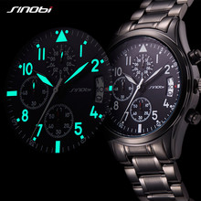 SINOBI sport chronograph men's watch stainless steel strap top luxury brand male quartz watch waterproof watch relogio masculino