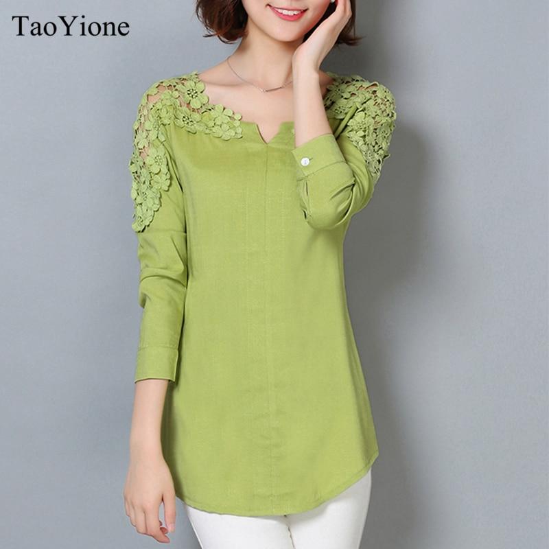 Manga 2018 Mujer Cuello Talla Camisa blanco Nueva Floral Azul Sexy Blusa V De Camisas rosado Encaje Con En verde Casual Lino Femenina Larga Grande Señora qpwqItX