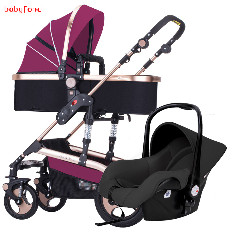 European 3 in 1 Baby Strollers baby Brand Baby Strollers 2 In 1 Carriage 3 With Car Seat newborn folding baby pram 2018 baby strollers brand baby 2 in1 pram baby carriage many colors for choice