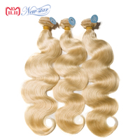 New Star Brazilian #613 Body Wave 3 Bundles Platinum Blonde Remy Hair Weave Free Shipping 100% Intact Cuticle Human Hair Weaving