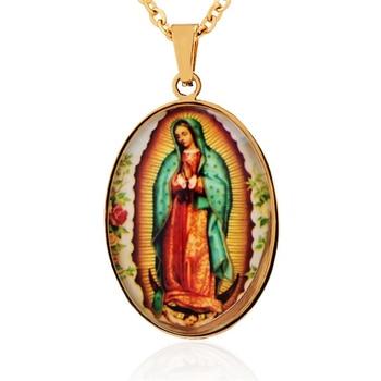 e195add45e67 Rosario de acero inoxidable colgante Virgen María catolica medalla de  Nuestra Señora de Guadalupe collar de Virgen María para joyería de hombre y  mujer