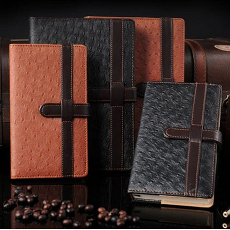 Leather Notebook paper Business Diary 128 Sheets Note book Notepad Office School Supplies gift fashion spiral diary notebook with lock code password paper 80 sheets business note book notepad office school supplies gift