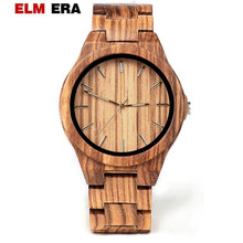 ELMERA   wooden watch clok men relogio masculino wood watches men watch wood hand mens