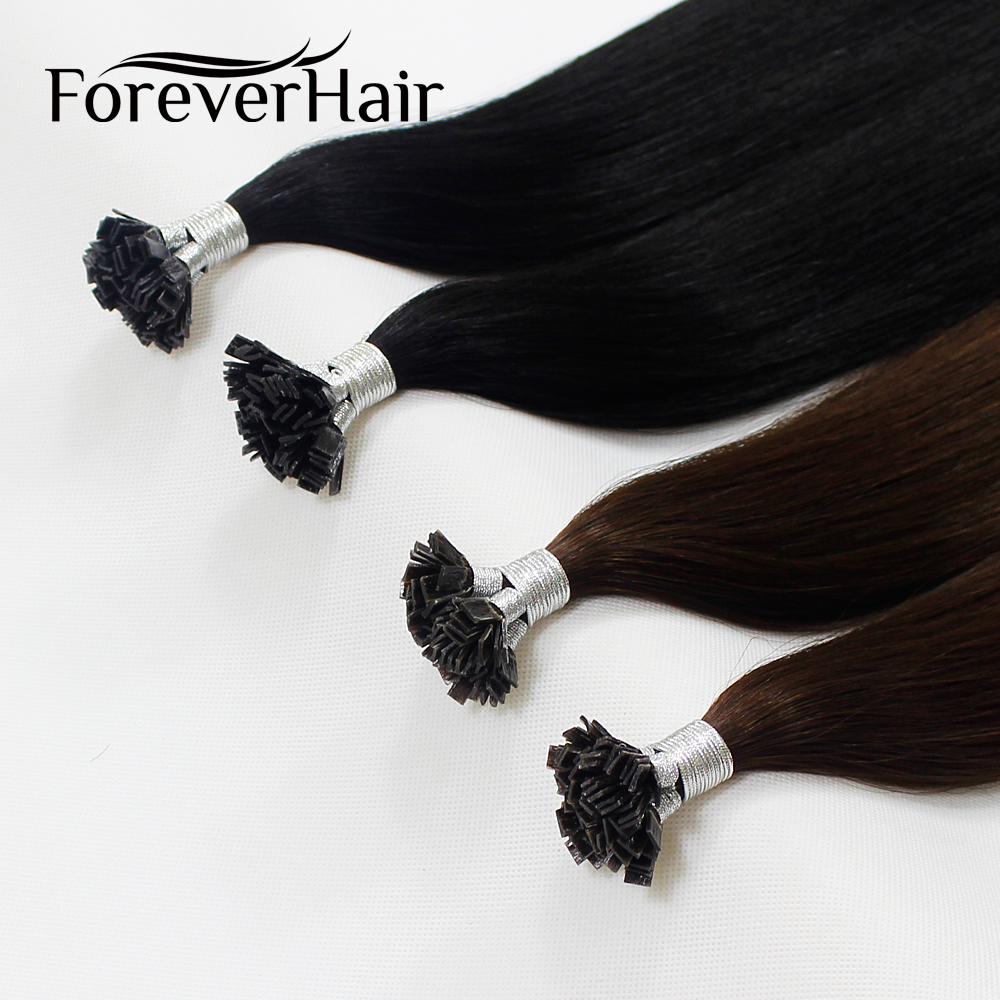 """FOREVER HAIR 0.8g/s 16"""" 18"""" 20"""" 100% Remy Huma Pre Bonded Flat Tip Hair Extension Straight Capsules Keratin Fusion Hair 40g/pac(China)"""