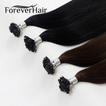 "FOREVER HAIR 0.8g/s 16"" 18"" 20"" 100% Remy Huma Pre Bonded Flat Tip Hair Extension Straight Capsules Keratin Fusion Hair 40g/pac(China)"
