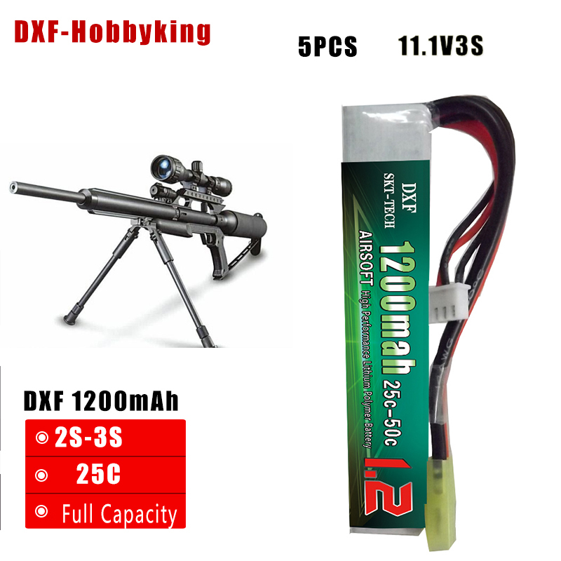 2017 DXF New Arrived 5PCS AirSoft Baterie 11.1V 1200mAh 25C Max 50C 2S AKKU Mini Airsoftová Baterie RC model Tamiya Plug