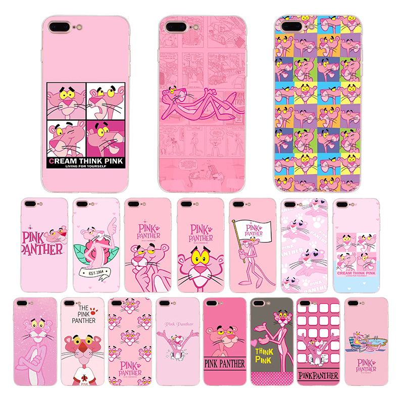 Cartoon pink leopard Phone Case For coque iPhone 7 8 6 6s puls X XS MAX XR 5 5s se Pink Panther Cute soft silicone phone cover