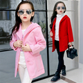2016 Cotton Solid Red Pink Girls Trench High Quality Children Girls Dress Hoodies Toddler Spring Brand Outwear Coats Jackets