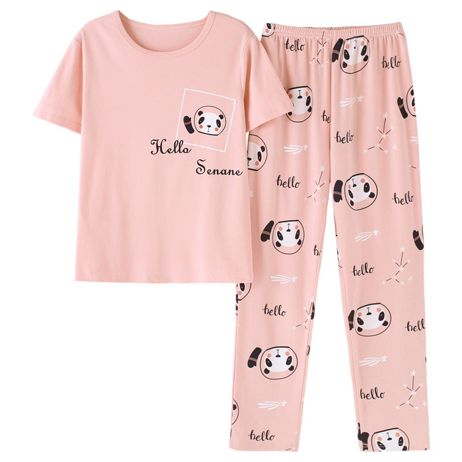 Summer Casual Cotton Home Clothes 2pcs/  set   Women Short Sleeve Tops + Long Pants Spring Cute Cartoon Bear Print Girl   Pajamas     Set