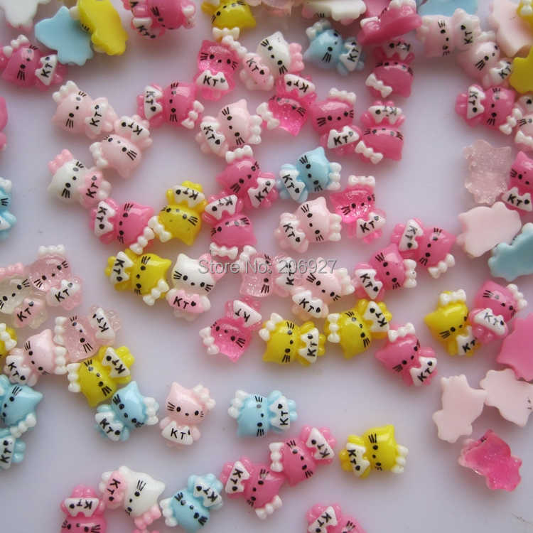 #29 30pcs Cute Mix Small Cat Shape Nail Resin Decoration Outlooking