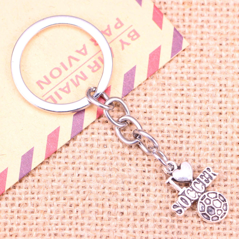 20 piezas nuevo llavero de moda 22x16mm me encantan los colgantes de fútbol DIY hombres joyería coche llavero anillo soporte recuerdo regalo