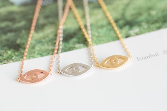 18k Gold silver rose girls anniversary fortunate eye necklace jewelry