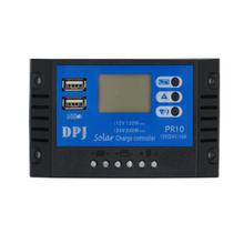 10A 12V 24V Auto Solar Panel Battery Charge Controller PWM LCD Display Solar Collector Regulator with Dual USB Output