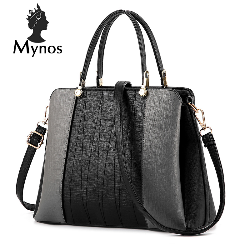 ФОТО MYNOS Patchwork Luxury Handbag Women Bags Designer Women Messenger Bag Ladies SAC A MAIN Leather Top-Handle Bag For Women