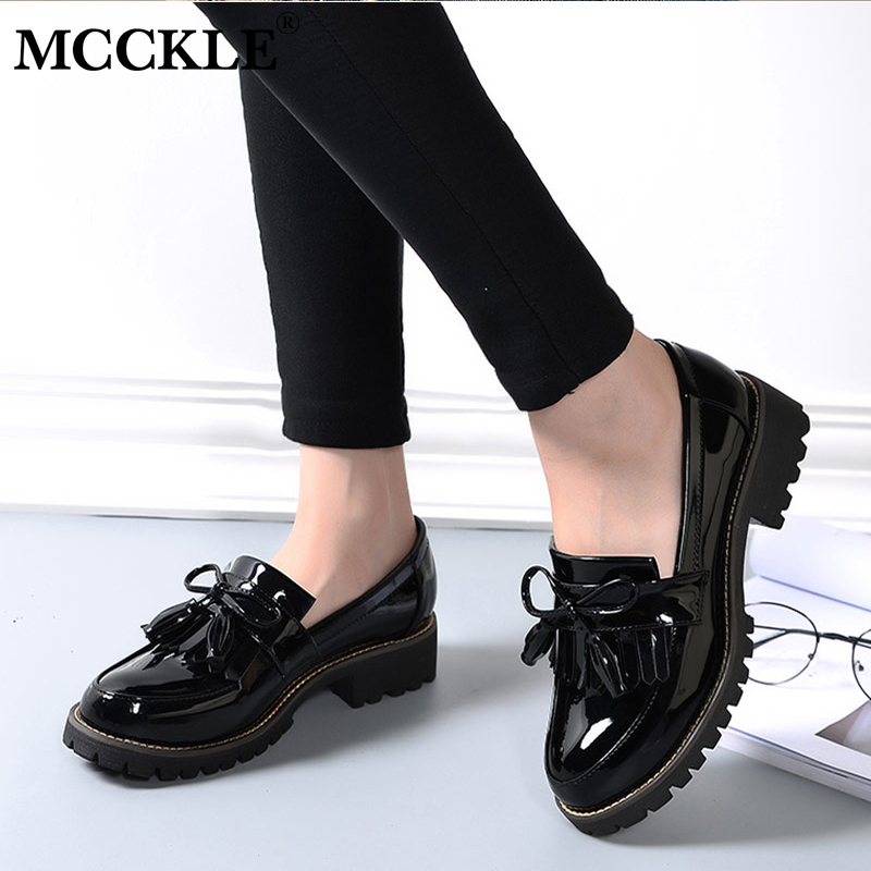 купить MCCKLE Shoes Women Tassel Bowtie Design Low Heels Platform Sewing Slip On Square Heel School Girls Shoe For Ladies Footwear по цене 1218.26 рублей