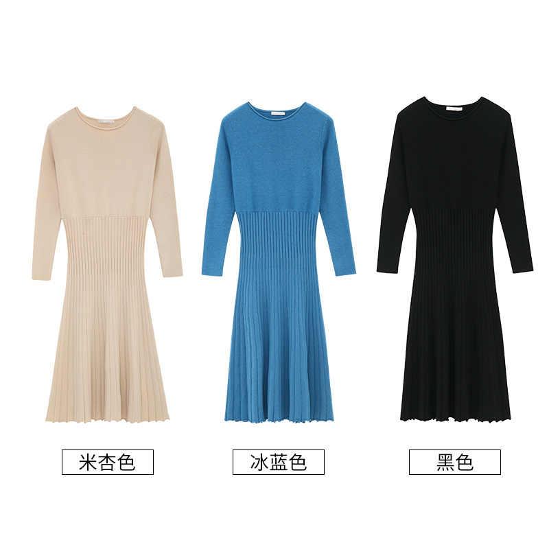 אינמן אביב סתיו כותנה O-צוואר קוריאני אופנה Slim כל מתאים ארוך שרוול אונליין נשים שמלה