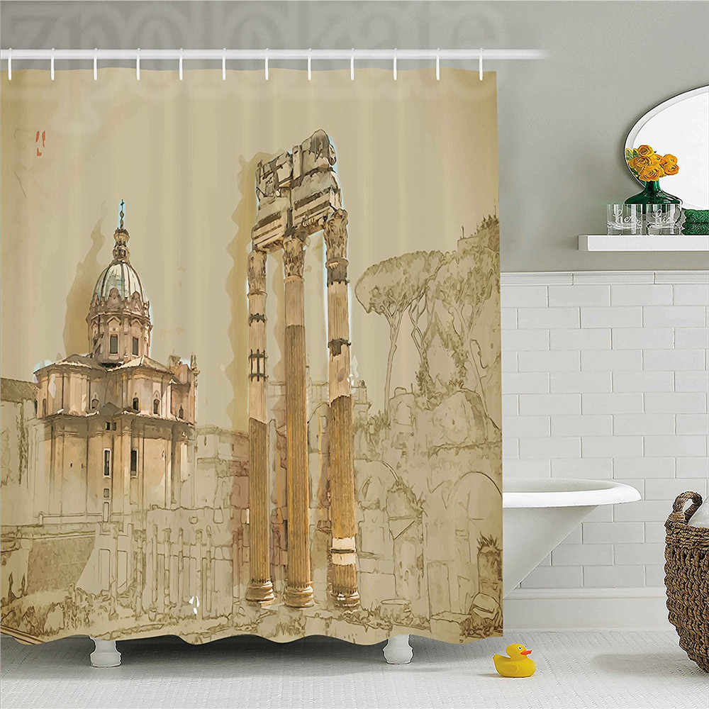 Shower Curtain Sketchy Old Abbey Church