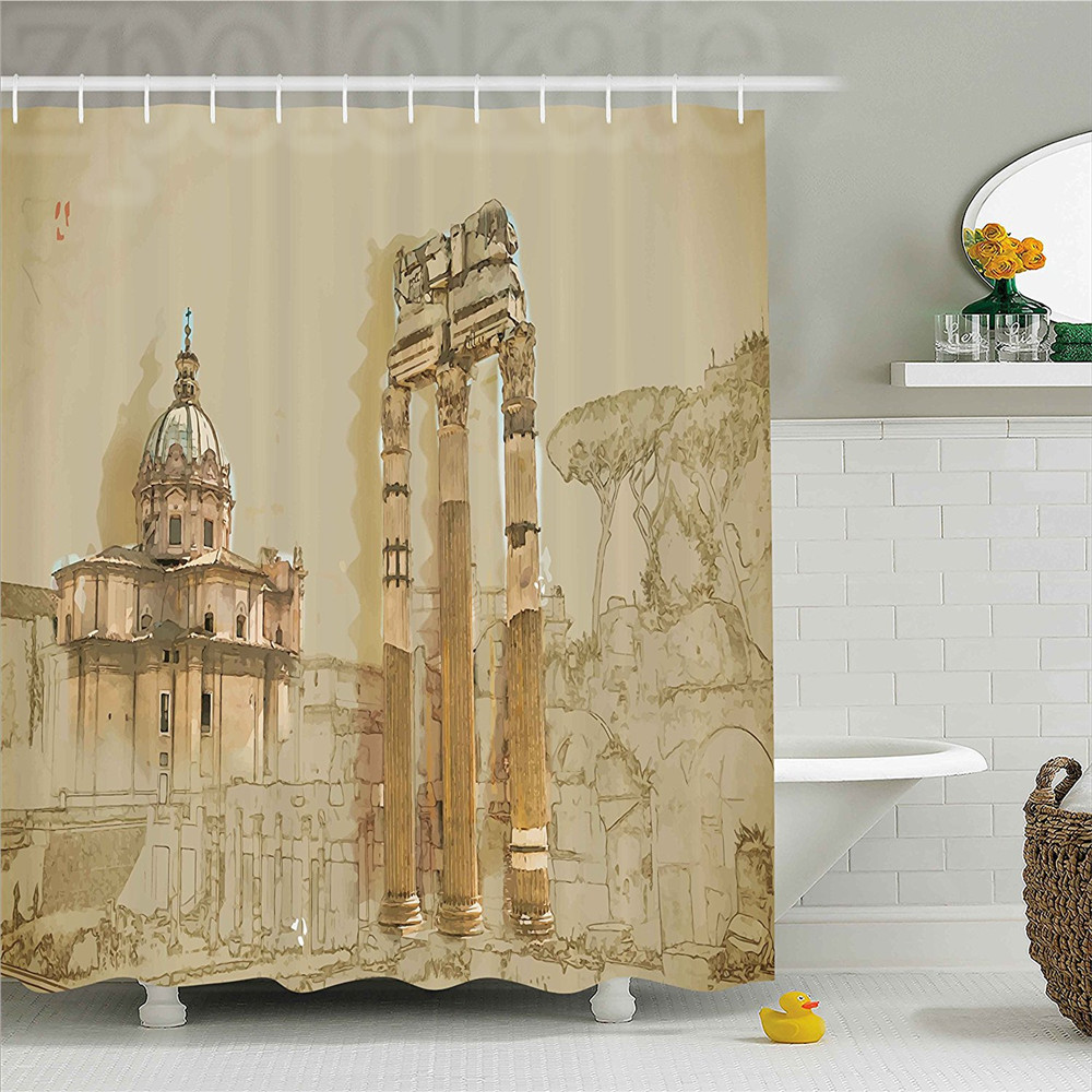 Us 11 65 37 Off Ancient Decor Shower Curtain Sketchy Old Abbey Church And Antique Greek Rome Byzantine Columns Print Bathroom Set With Hoo In