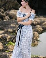 Магазине Джессики летние женские винтажные разрез декольте Синий и белый фарфор печать, вышивка, кружево 100% хлопок длинное платье
