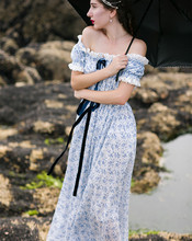 Jessica's Store summer women vintage slit neckline blue and white porcelain print embroidery lace 100%cotton long dress