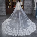 3 Meters White Cathedral Beaded Big Appliques Lace Edge Wedding Bridal Veils 2017 With Comb Long Bridal Veil Voile Mariage Cheap