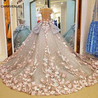 LS88349 long dresses for wedding party dresses vestidos de festa short sleeves zipper back beaded ball gown evening dresses