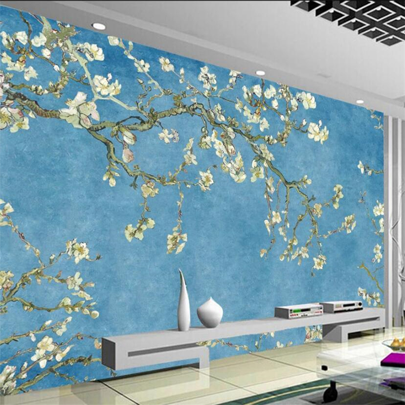 Beibehang Custom Wallpaper 3d Mural European Blue Oil Painting Magnolia Flower Background Wall Living Room Bedroom 3d Wallpaper