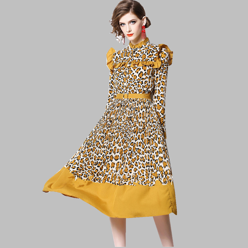 HAMALIEL High Quality Spring Leopard Print Dress Vintage Women Yellow Chiffon Patchwork Ruffles Dress Fashion Long Sleeve Dress