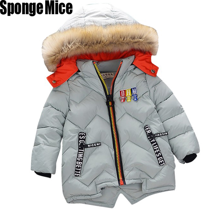 Autumn Winter Children Girls Warm Thick Jackets With Fur Hat Kids Parkas 90% Cotton Filling Girls Outdoor Coats 0-6 Years