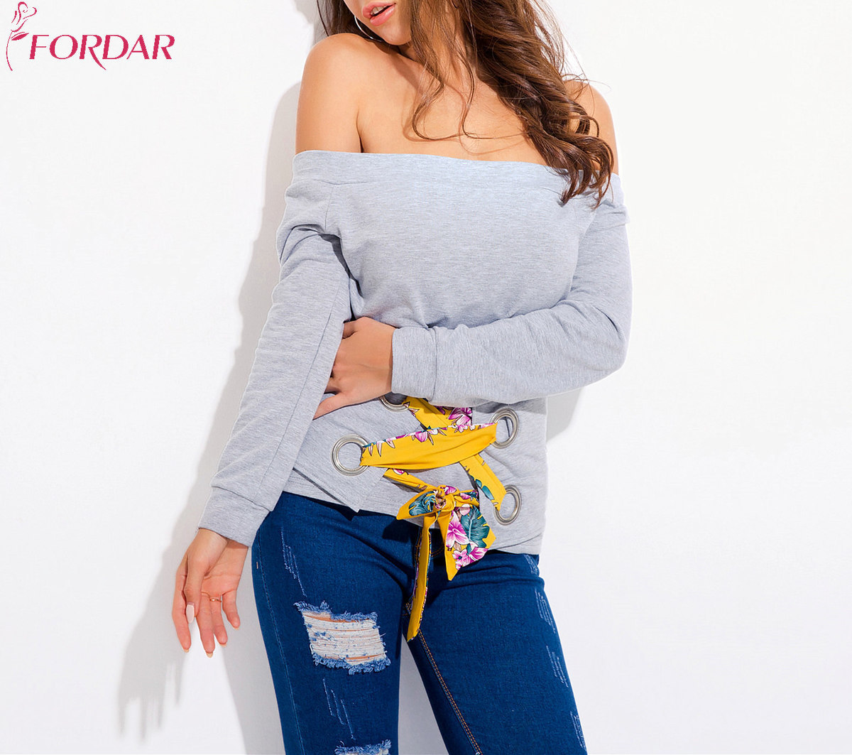 European New Pattern Original Design Sexy Strapless One Word Lead Sweater Woman Long Sleeve T Pity