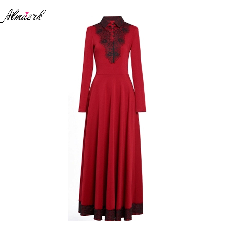 2018Women winter dress Ms POLO collar long sleeve Slim large size Long section dress Female high quality Long sleeves dress p073