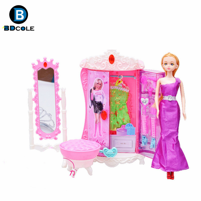 Newest European Princess Style Furniture Toy Cheval Mirror Wardrobe For Barbie Doll House Accessories Funny